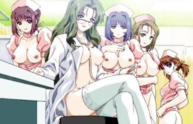 Naughty busty anime doctor drilled by doctor