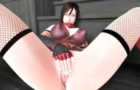 Animated doxy in stockings riding