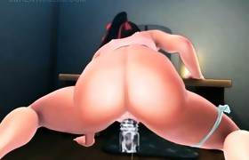 Giant titted anime babe giving blowjob gets..
