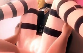 Cute anime blonde riding horny cock on the floor