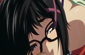 Giant titted hentai sweetheart with glasses fucked
