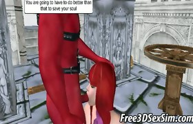 Foxy 3D cartoon redhead receives fucked by a demon