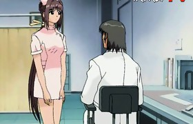 Anime doctor uses his big tool on one of his..