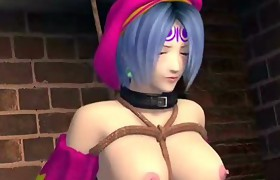 Bound up animated beauty gets dildoed