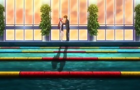 Awesome campus, romance anime movie scene with..
