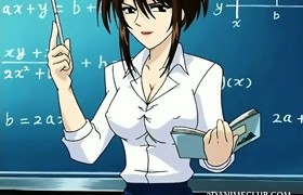 Manga  school teacher in short skirt shows wet..
