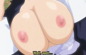 Hentai maid riding masters cock in the garden